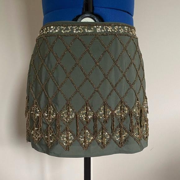 Olive Green Gold Beaded Skirt Flapper Costume Bellydance Boho Festival